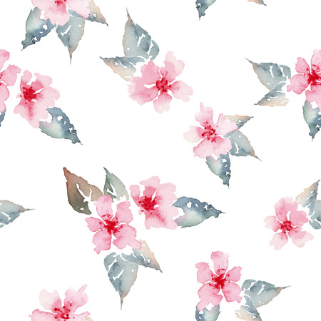 pink paint: Watercolor flowers. Seamless pattern. Vector. Illustration. Illustration