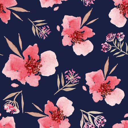 jardines con flores: Flores de la acuarela sin patr�n. Adecuado para embalaje y papel de regalo. Hecho A Mano.
