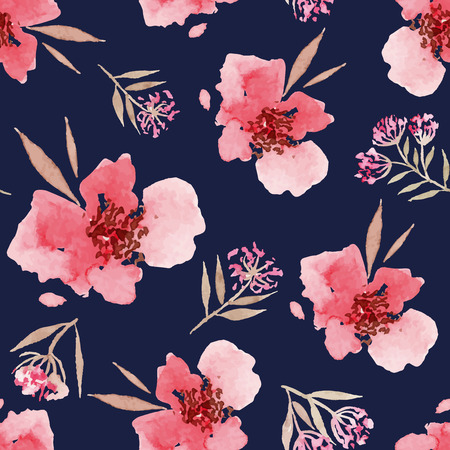 flowers: Watercolor flowers seamless pattern. Suitable for packaging and wrapping paper. Handmade.