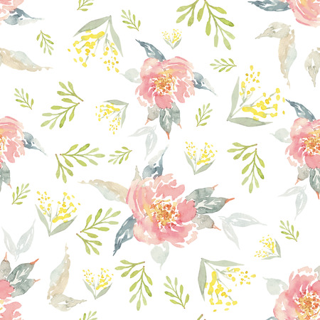 wrapping: Watercolor flowers seamless pattern. Suitable for packaging and wrapping paper. Handmade.