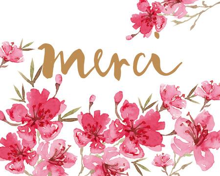 flower ornament: Watercolor greeting card flowers. Handmade. Congratulations.