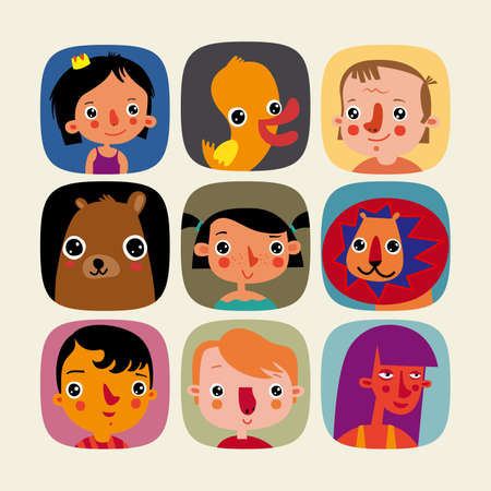 Set of vector characters for childrens sites. Vector