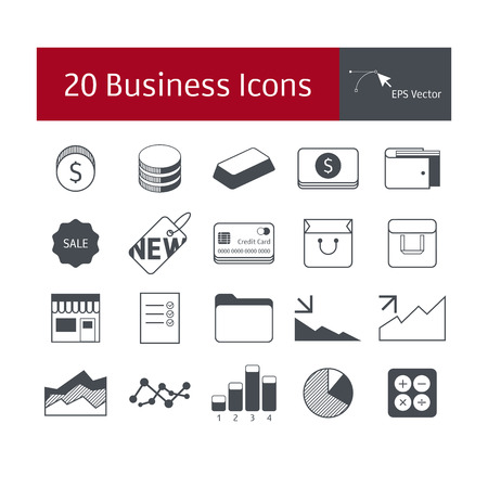 austere: Set of business icons. Vector graphics. Austere style.