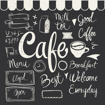 cafe bar: Cafe Set Illustration