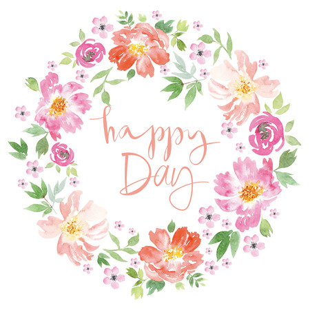 spring flowers: Spring flowers. Illustration, vector. Pattern frame. Hand lettering. Illustration