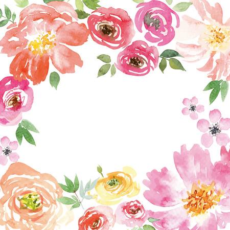 Spring flowers. Illustration, vector. Pattern frame. Hand lettering. Çizim