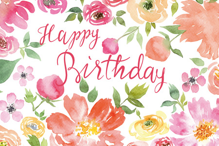 Flowers watercolor. Greeting card. Vector. Birthday. Иллюстрация