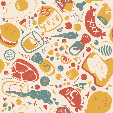 soothing: Food pattern. Seamless texture. Suitable for food packaging. Retro style. Soothing colors. Illustration