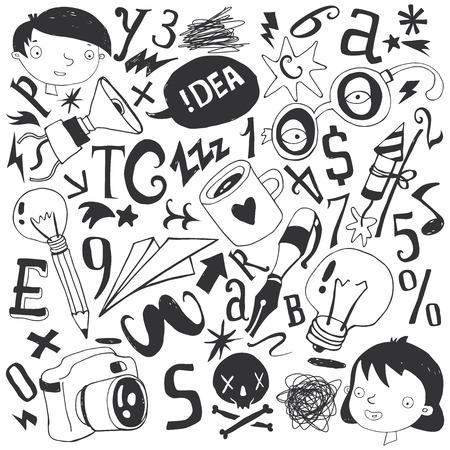 Character set, school, hobby, sketch, illustration, pencil drawing Vector