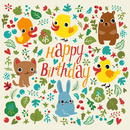 congratulate: Childrens card on his birthday. Funny animals and birds congratulate any kid. Illustration