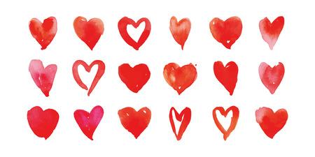 dessin coeur: Aquarelle vecteur coeur