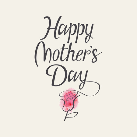 calligraphic: Hand lettering for Mothers Day. Watercolor. Flower.