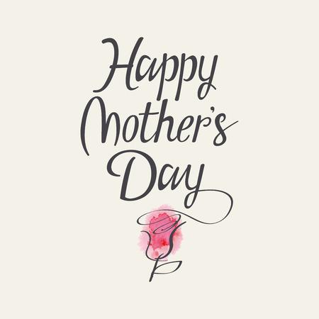 madre: Letras de la mano para el día de madres. Acuarela. Flor.