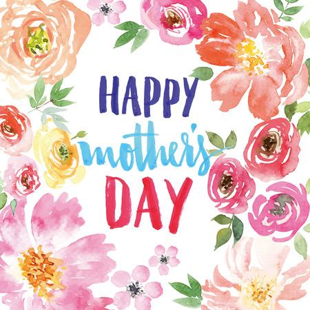 Watercolor spring flowers. Spring flowers. Illustration, vector. Pattern frame. Hand lettering. Çizim