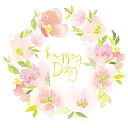 Watercolor flower wreath Illustration Illustration