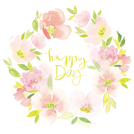 pink flowers: Watercolor flower wreath Illustration Illustration