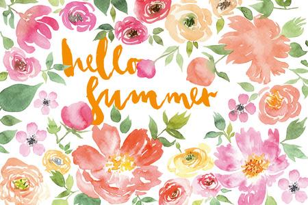 de zomer: Aquarel bloemkroon Illustratie