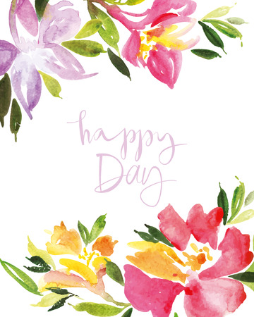 white picture frame: Watercolor flower wreath Illustration Illustration