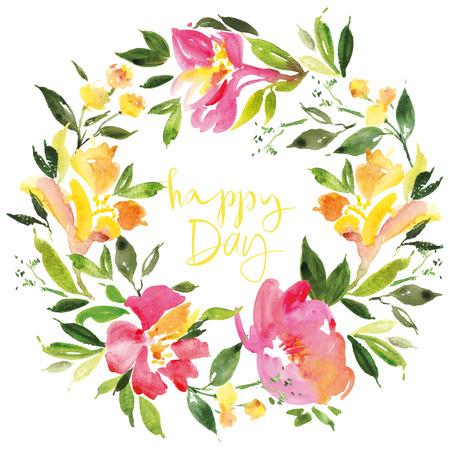 fleurs romantique: Aquarelle couronne de fleurs Illustration Illustration