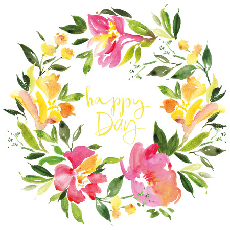 flowers on white: Watercolor flower wreath Illustration Illustration