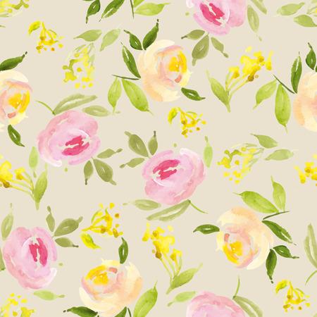 Watercolor flowers. Seamless pattern Vector