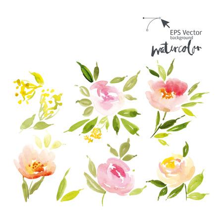 flores de cumplea�os: Acuarela flores tarjeta de felicitaci�n. Hecho A Mano. Te Felicito.