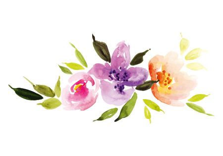 cenefas flores: Acuarela Ilustración guirnalda de la flor Vectores