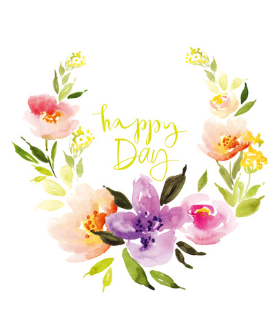 garland: Watercolor flower wreath. Illustration. Hand lettering. Handmade. Painting. Summer. Flowers. Illustration