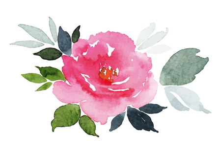 retro flower: Watercolor greeting card flower Illustration