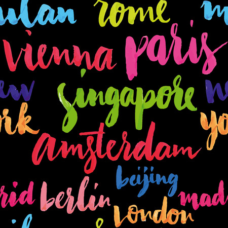 The names of the cities of the world Vector