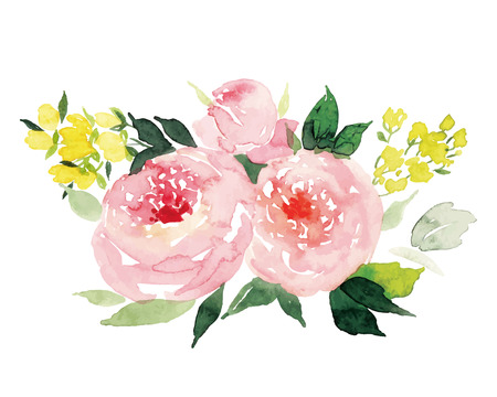 flower borders: Watercolor greeting card flowers Illustration