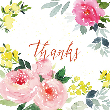 floral bouquet: Watercolor greeting card flowers Illustration