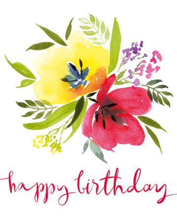 hand card: Watercolor greeting card flowers. Handmade. Congratulations.