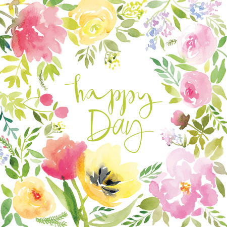felicidades: Acuarela flores tarjeta de felicitación. Hecho A Mano. Te Felicito.
