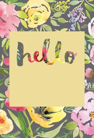 tulipan: Karta z pozdrowieniami z tulipanów. Akwarela karty okolicznościowe kwiaty. Wykonany ręcznie. Gratulacje.