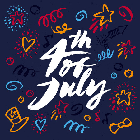 Handmade. Painted with a brush. 4th of July. Vector illustration. Vector