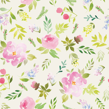 painting on wall: Watercolor flowers. Seamless pattern. Vector. Illustration. Gentle Illustration