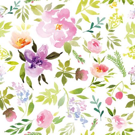 romantyczny: Kwiaty akwarela. Szwu. Wektor. Ilustracja. Łagodny