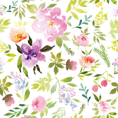 romantic: Watercolor flowers. Seamless pattern. Vector. Illustration. Gentle Illustration
