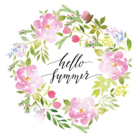Acquerelli cartolina fiori. Fatti A Mano. Complimenti. Archivio Fotografico - 39574823