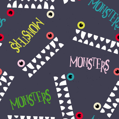 Decorative pattern monsters. Simple form. Smile. Vector
