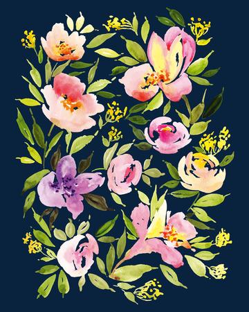 Watercolor greeting card flowers. Handmade. Congratulations.