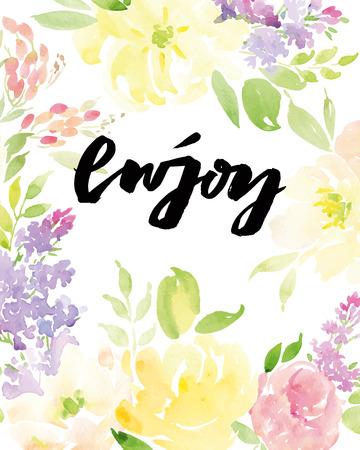 congratulations: Watercolor greeting card flowers. Handmade. Congratulations.