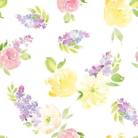 fabric art: Watercolor flowers. Seamless pattern. Vector. Illustration. Gentle Illustration