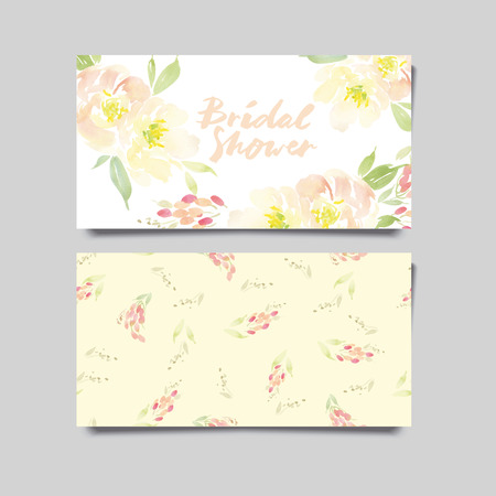 그린: Decorative card. Flowers painted in watercolor. Hand lettering. Seamless pattern.