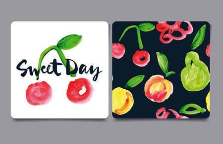 Decorative card painted with watercolors. Seamless pattern. Set of fruits. Vector