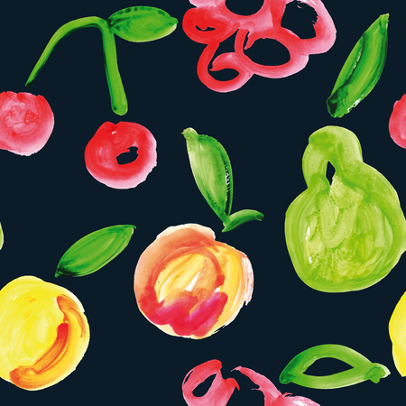 Fruit painted in watercolor. Simple drawing. Bright color. Vector