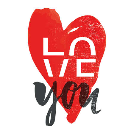 love you: Print for Tshirt Love you. Illustration