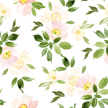Watercolor flowers Seamless pattern. V Çizim