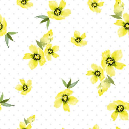 Watercolor flowers. Seamless pattern. Vector. Illustration. Gentle Vector